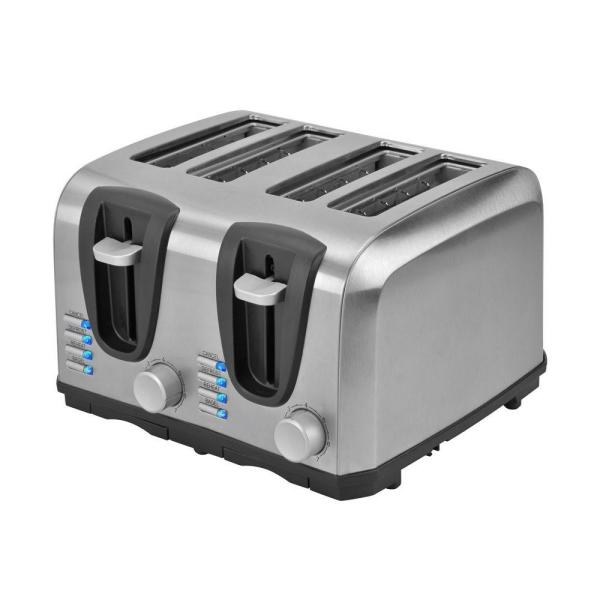 KALORIK 4-Slice Stainless Steel Toaster with Crumb Tray and Automatic Shut-Off