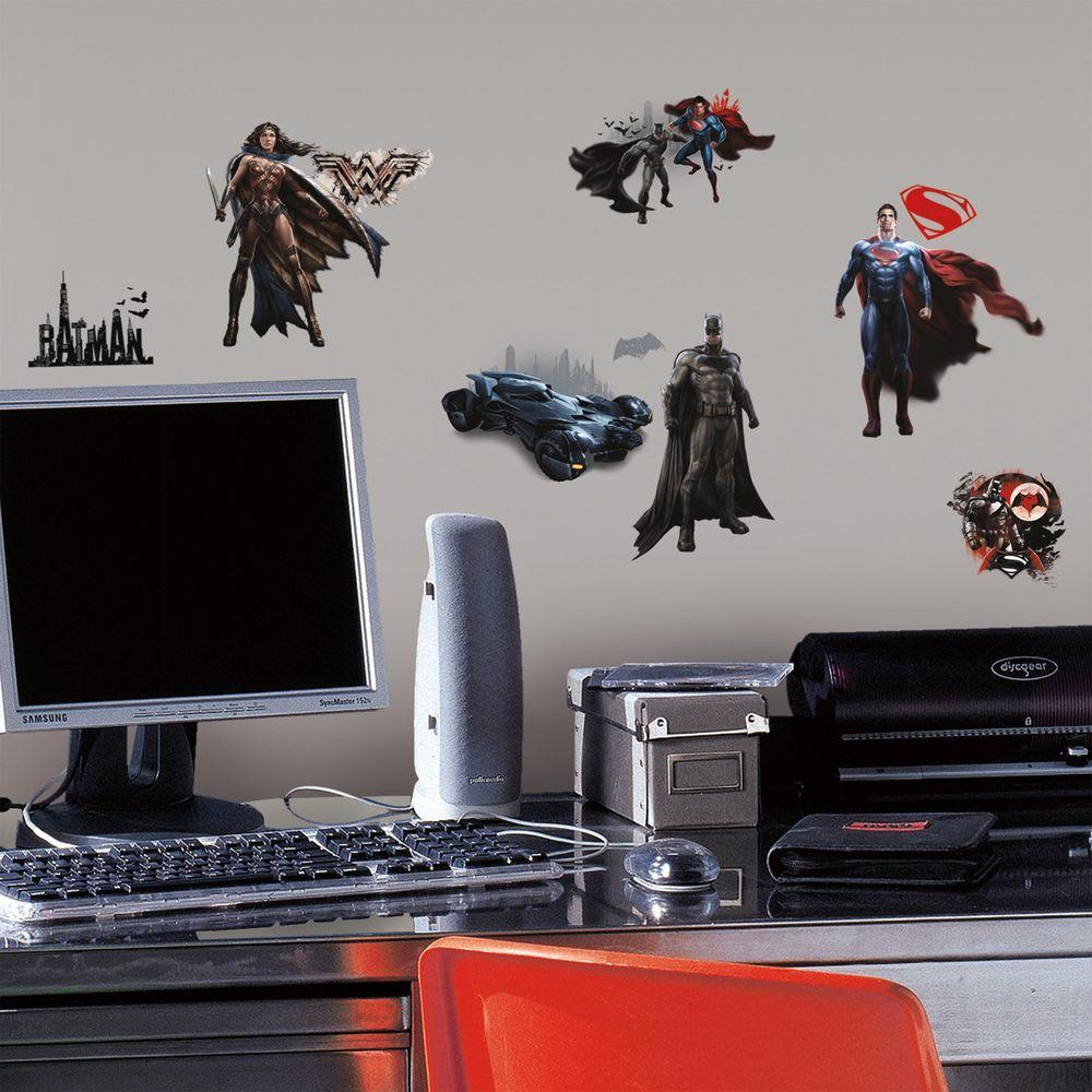 H Batman V Superman 18 Piece Peel And Stick Wall Decal RMK3188SCS   The  Home Depot