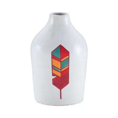 Bear 12 in. Hand Painted Terracotta Decorative Vase in White
