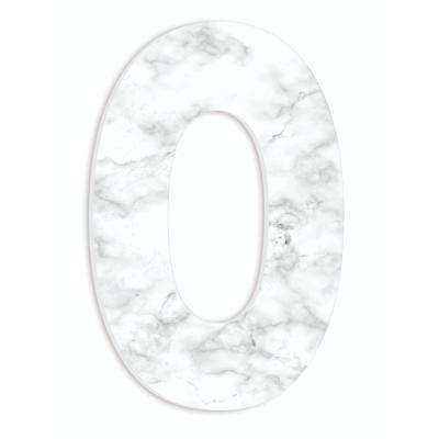"""12 in. x 18 in. """"Modern White and Grey Marble Patterned Initial O"""" by Artist Daphne Polselli Wood Wall Art"""