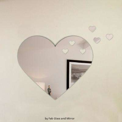Heart Shape Frameless Decorative Wall Mirror with 3 Croped Heart Pieces