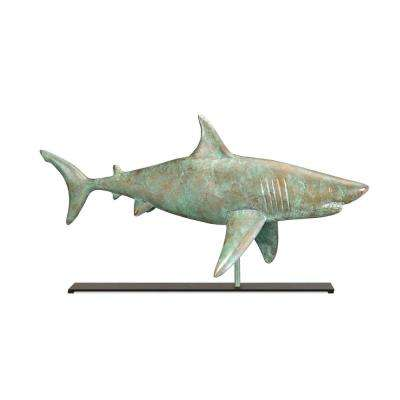 Shark Blue Verde Copper Table Top Sculpture - Nautical Home Decor