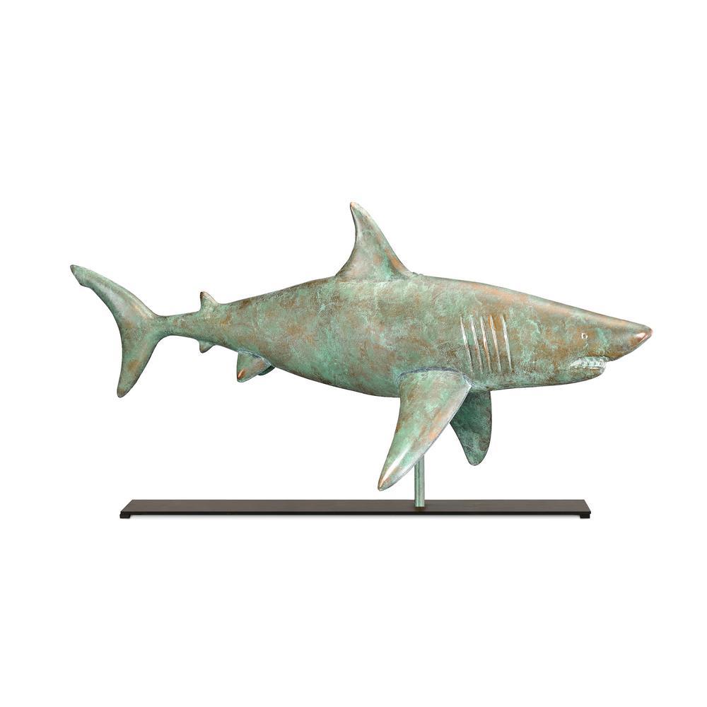 Shark Blue Verde Copper Weathervane Sculpture on Iron Mantel Stand