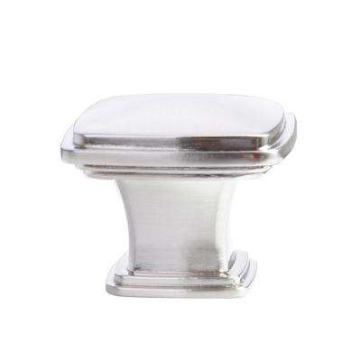 1-1/4 in. Satin Nickel Traditional Square Cabinet Knob (10-Pack)
