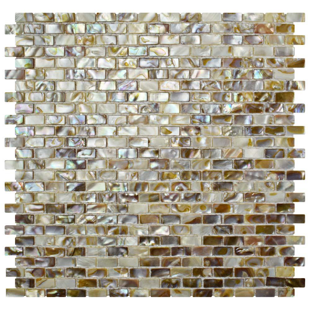 Merola Tile Conchella Subway Perla 11-3/4 in. x 11-3/4 in. x 2 mm Natural Seashell Mosaic Tile