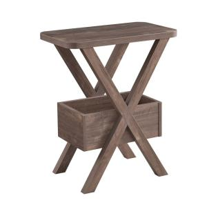 24 in. H Hazelnut Brown Wooden Chairside Table with a Bottom Shelf and X-Frame Base