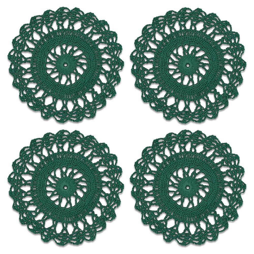 Crochet Envy Sunburst 6 in. Teal Round Doily (Set of 4)