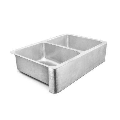 Anning Farmhouse Apron-Front Crafted Stainless Steel 33 in. 50/50 Double Bowl Kitchen Sink with Brushed Finish
