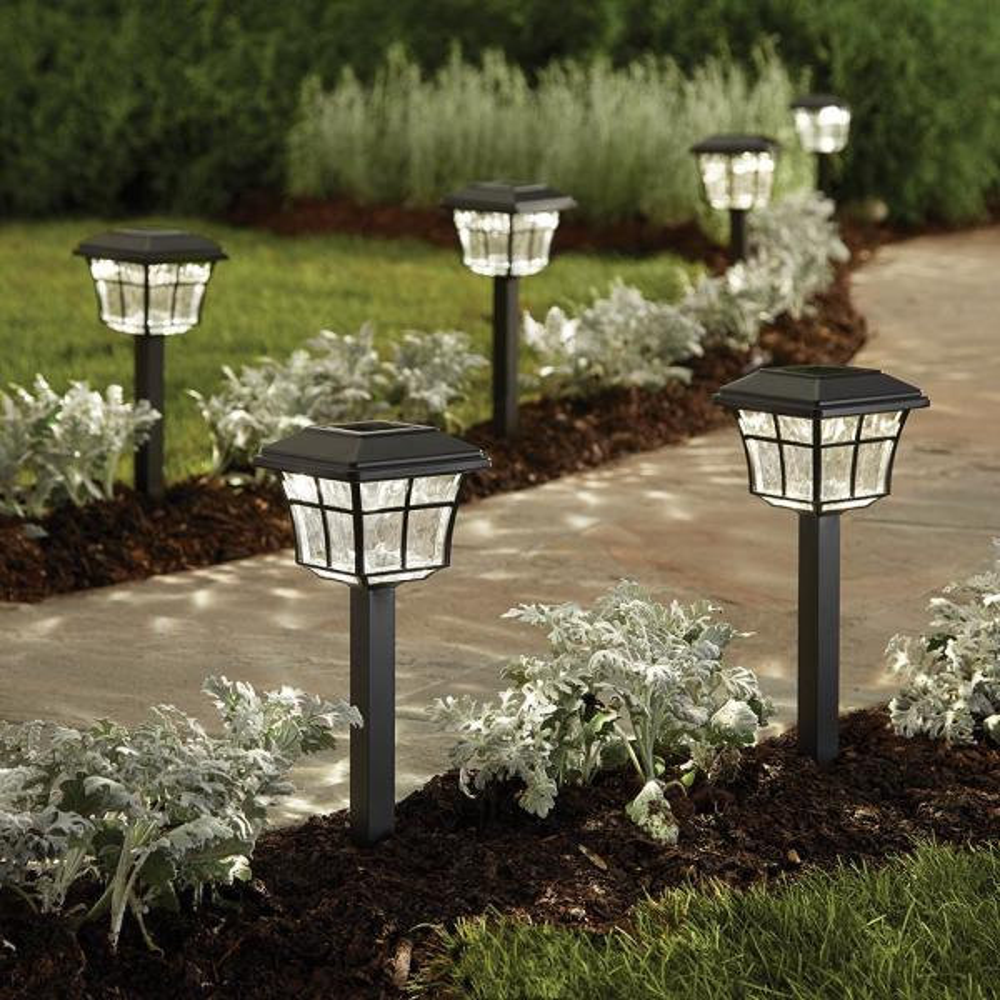Hampton Bay Solar Powered Dark Bronze Outdoor Integrated Led 3000k Warm White Landscape Path Light 6 Pack 84101 The Home Depot