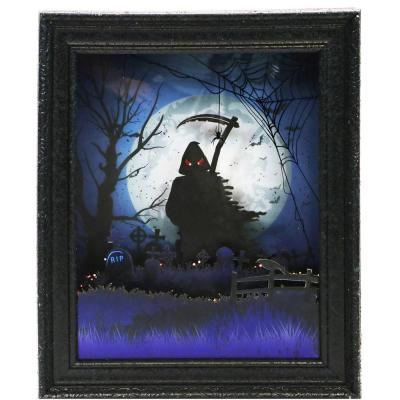 18 in. Black Grim Reaper Shadowbox with Animation and Spooky Music