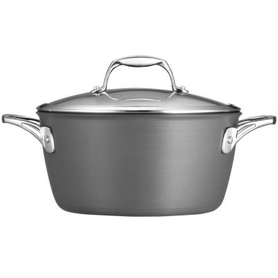 Gourmet 5 qt. Round Hard-Anodized Aluminum Nonstick Dutch Oven in Slate Gray with Glass Lid
