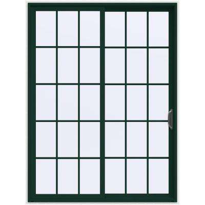 72 in. x 96 in. V-4500 Contemporary Green Painted Vinyl Right-Hand 15 Lite Sliding Patio Door w/White Interior