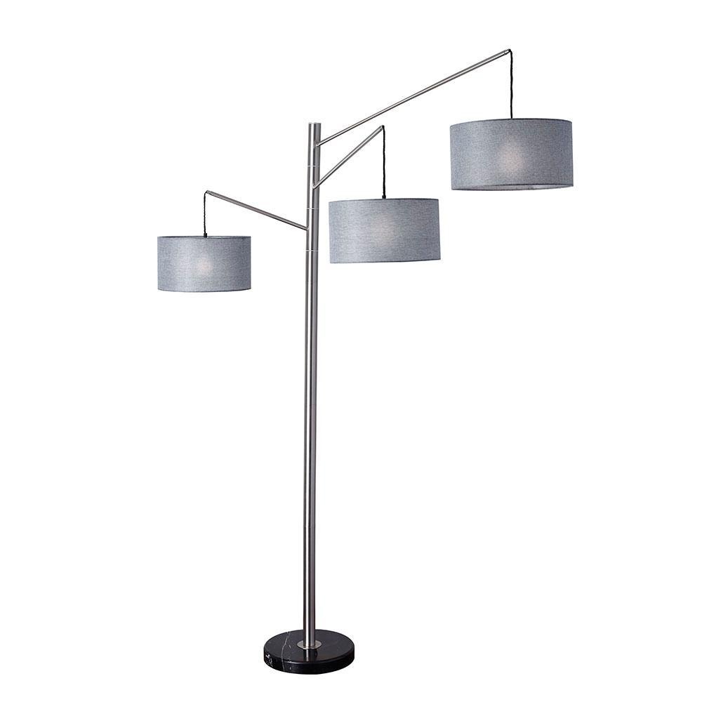 Wellington 91 in. Satin Steel Arc Lamp