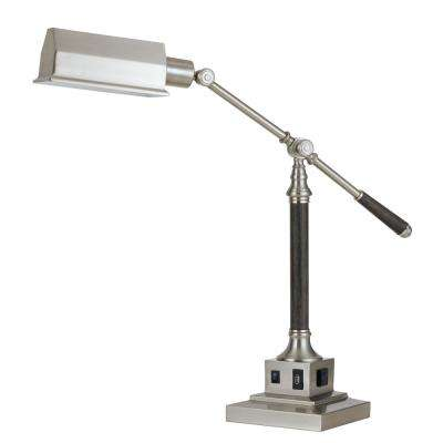 36 in. Brushed Steel Finish Metal Desk/Table Lamp with USB Port and Grounded Outlet
