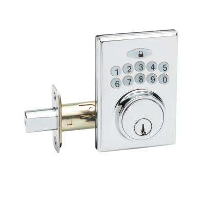 Square Electronic Keypad Polished Stainless Deadbolt