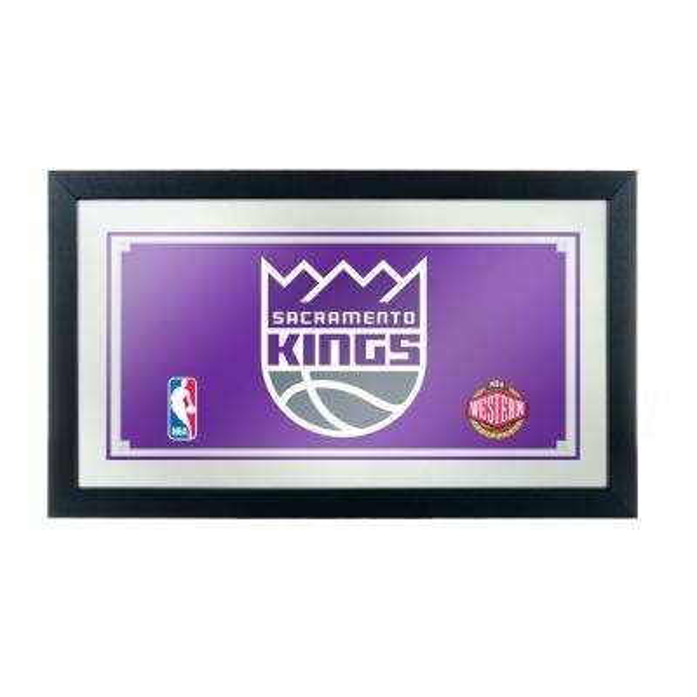 Sacramento Kings NBA 15 in. x 26 in. Black Wood Framed Mirror
