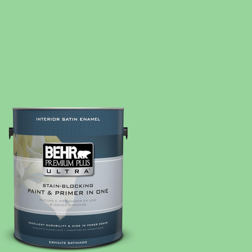 BEHR Premium Plus Ultra 1-gal. #P390-4 Young Green Satin Enamel Interior Paint