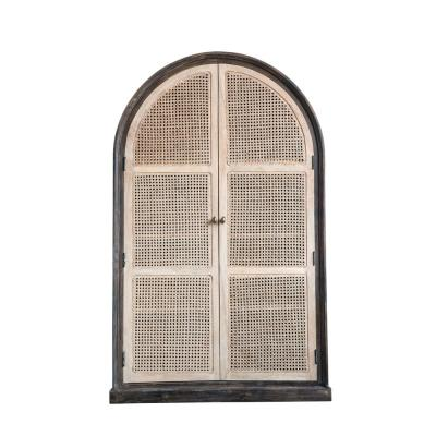 Beige Mango Wood Cabinet with Cane Doors and 4-Shelves