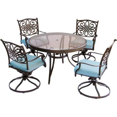 Seasons 5-Piece Aluminum Outdoor Dining Set with Blue Cushions with 48 In. Glass-Top Table