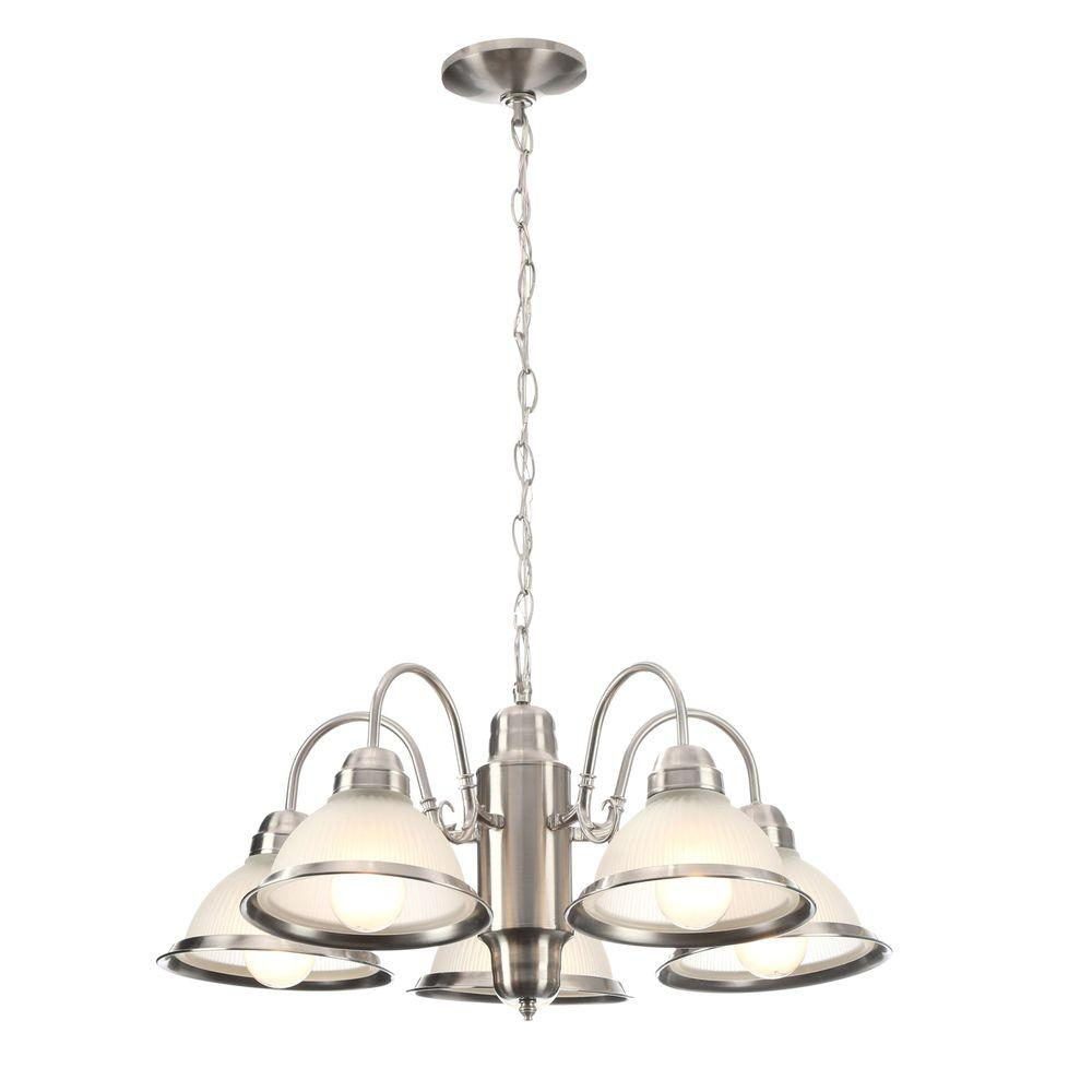 Hampton bay nove 5 light brushed nickel chandelier with white glass halophane 5 light brushed nickel chandelier with frosted ribbed glass shades arubaitofo Image collections