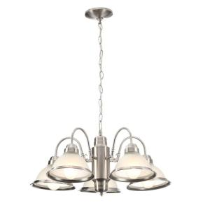 Hampton Bay Halophane 5-Light Brushed Nickel Chandelier with Frosted Ribbed Glass Shades by Hampton Bay