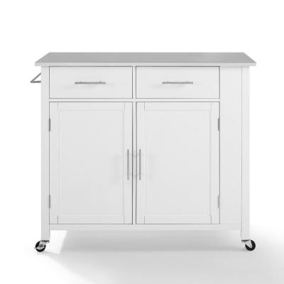 Savannah White with Stainless Steel Top Full-Size Kitchen Island