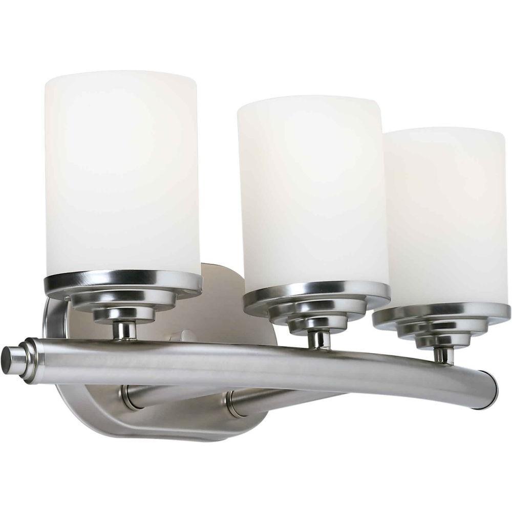 3-Light Brushed Nickel Bath Vanity Light with Satin Opal Glass Shade