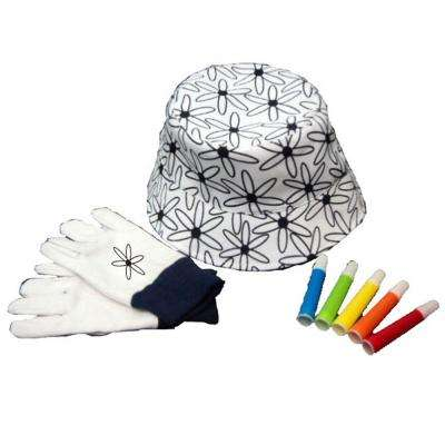 Kids Gardening Hat and Gloves with Markers Set