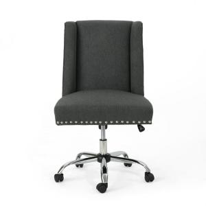 Pleasing Noble House Chiara Dark Gray Fabric Home Office Desk Chair Gmtry Best Dining Table And Chair Ideas Images Gmtryco