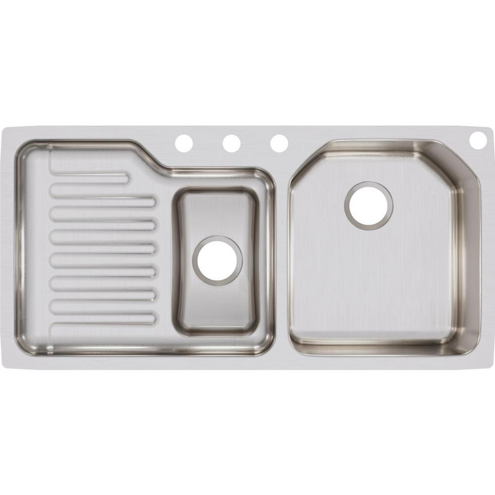 Stainless Steel Double Kitchen Sink With Drainboard