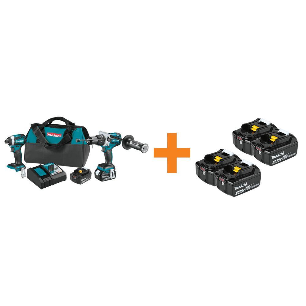 18-Volt LXT Brushless Cordless 2-Pc. Combo Kit with bonus 18V LXT 5.0Ah Battery, 2/pk and 18V LXT 5.0Ah Battery, 2/pk