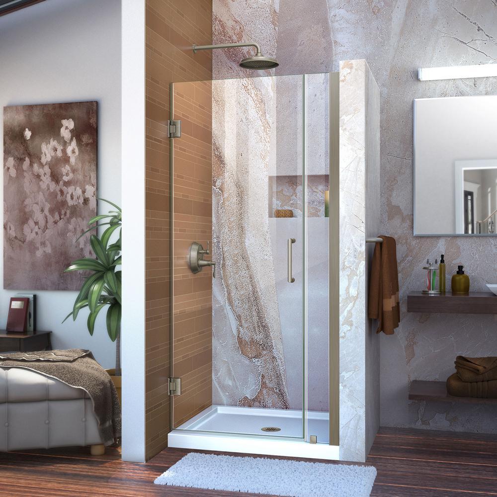 Unidoor 33 to 34 in. x 72 in. Frameless Hinged Pivot Shower Door in Brushed Nickel with Handle