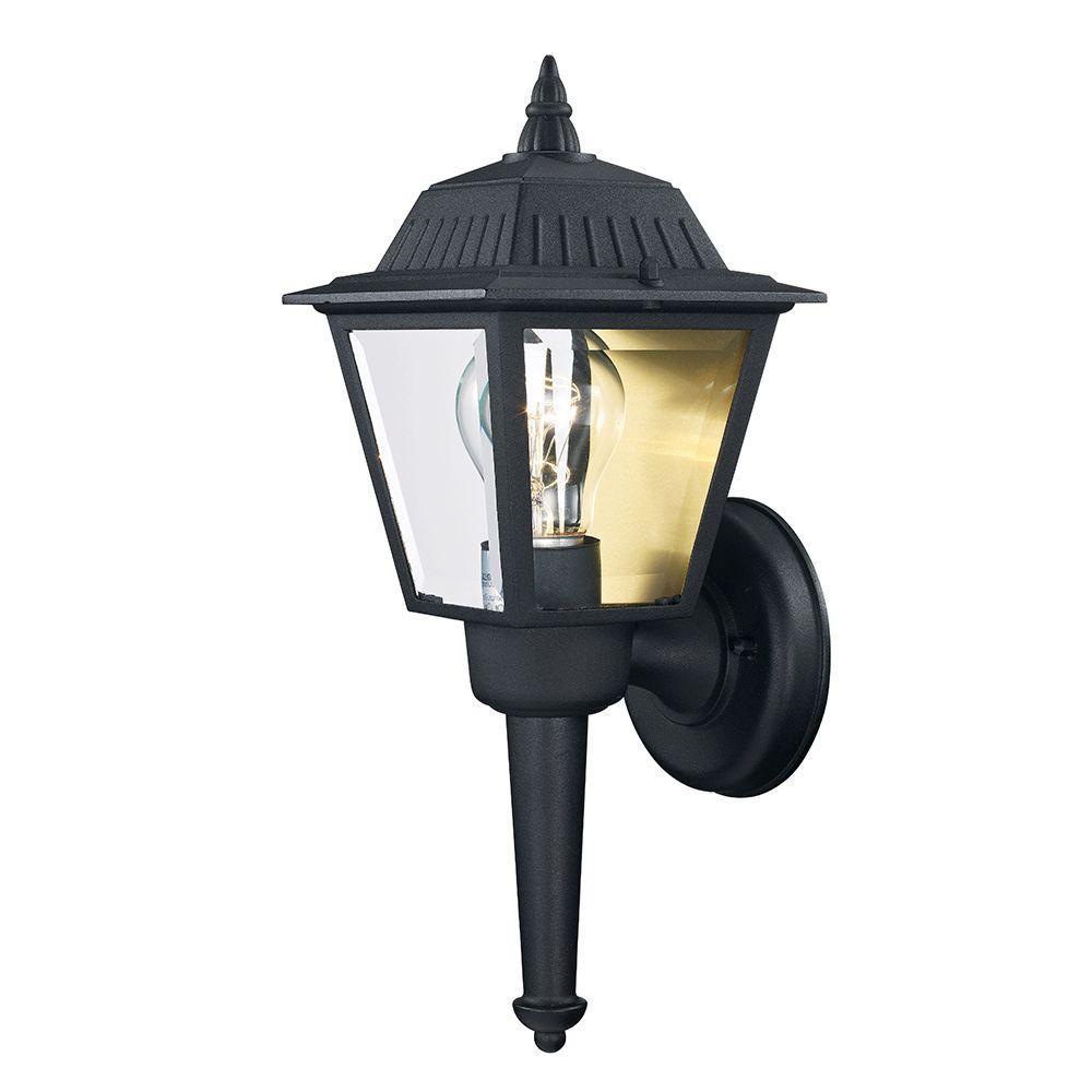 Black outdoor wall mount lantern exterior light glass porch patio garage sconce ebay for Exterior light sconce
