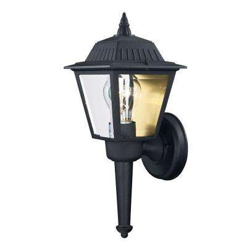 1-Light Black Outdoor Wall Mount Lantern