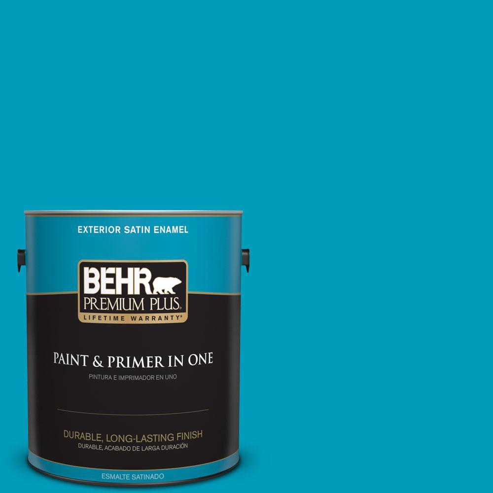 BEHR Premium Plus 1-gal. #520B-6 Brilliant Sea Satin Enamel Exterior Paint