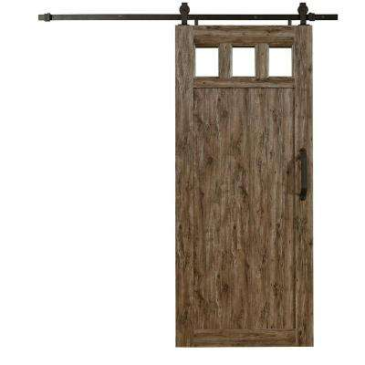 36 in. x 84 in. Millbrooke Weathered Grey 3 Lite Acrylic Pane RTA PVC Vinyl Barn Door with Sliding Door Hardware Kit
