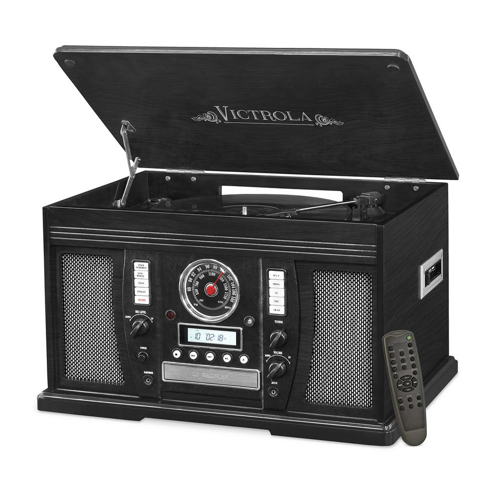 Victrola 6-in-1 Bluetooth Record Player with Turntable CD Cassette Player Radio