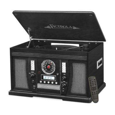 Wood 7-in-1 Nostalgic Bluetooth Record Player with CD Encoding and 3-Speed Turntable in Black