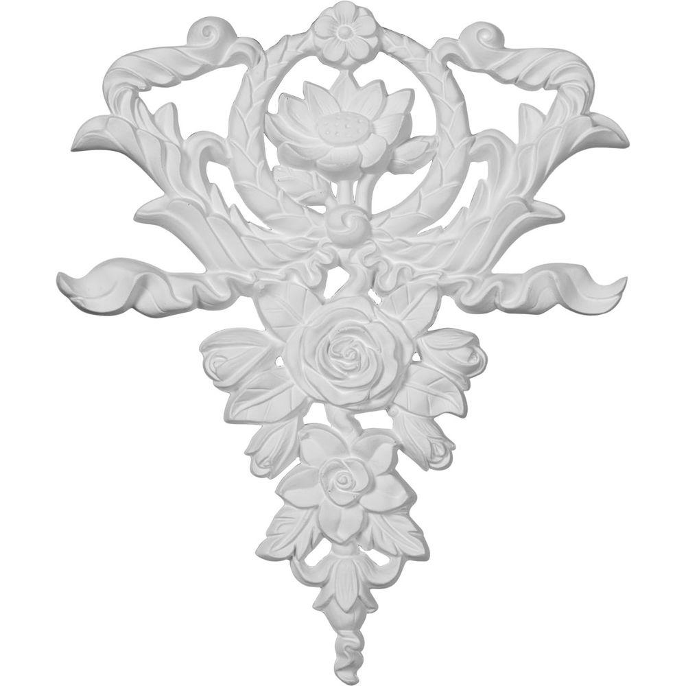 Ekena Millwork 3/4 in. x 10-5/8 in. x 12-5/8 in. Polyurethane Large Flower and Wreath Drop Onlay