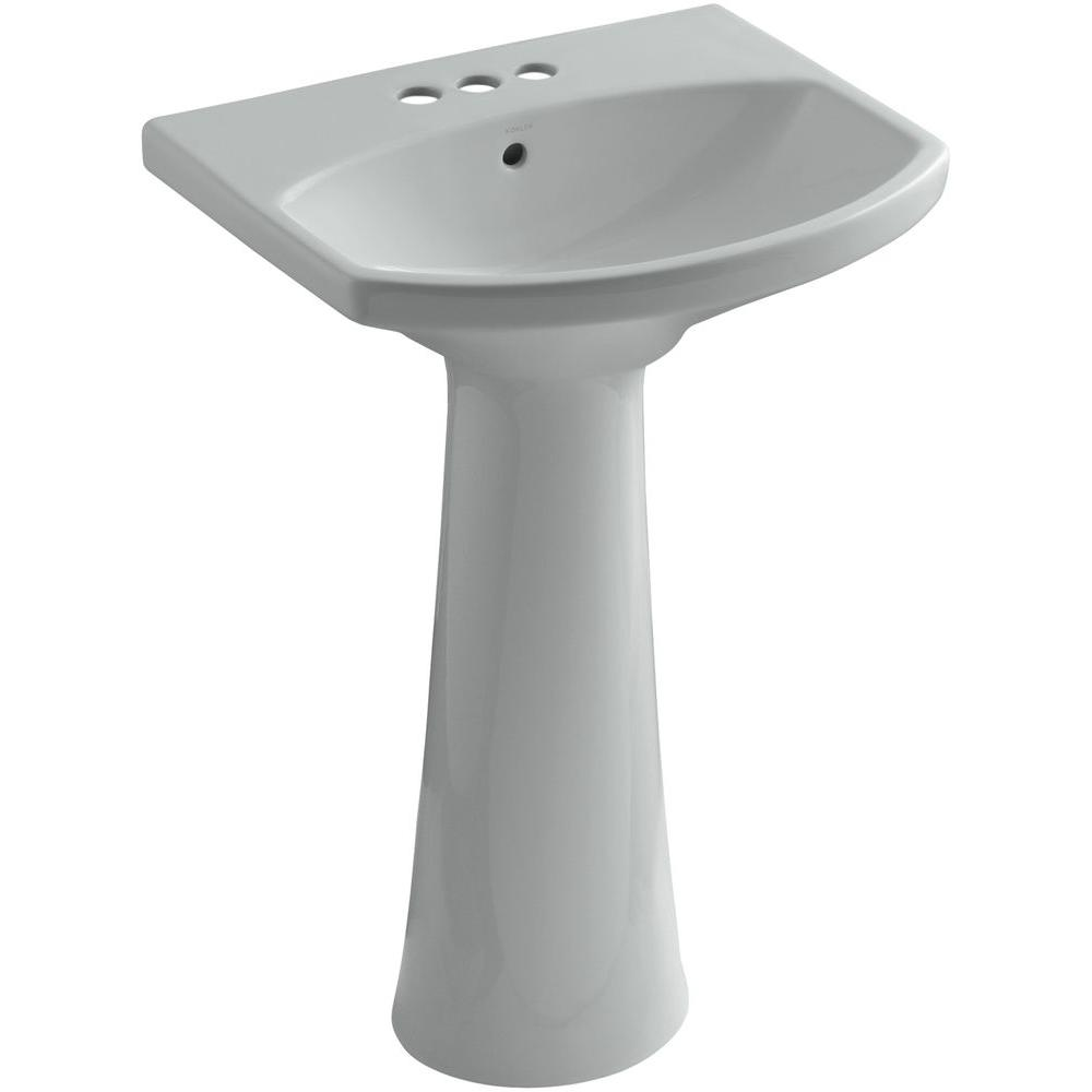 KOHLER Cimarron 4 in. Centerset Vitreous China Pedestal Combo Bathroom Sink in Ice Grey with Overflow Drain