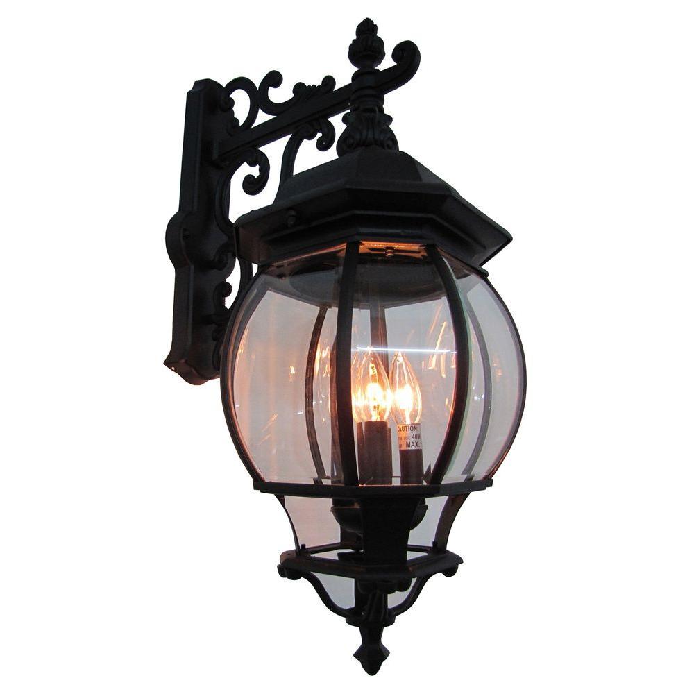 Classico 4 - Light Black Outdoor Wall Lantern Sconce