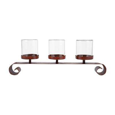 Tanner 13 in. x 32 in. Montana Rustic Iron and Clear Glass Centerpiece Candle Holder