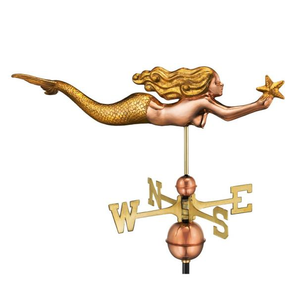 Mermaid with Starfish Weathervane - Pure Copper with Golden Leaf Finish