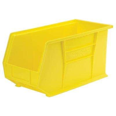 AkroBin 8.1 in. 60 lbs. Storage Tote Bin in Yellow with 3.9 Gal. Storage Capacity