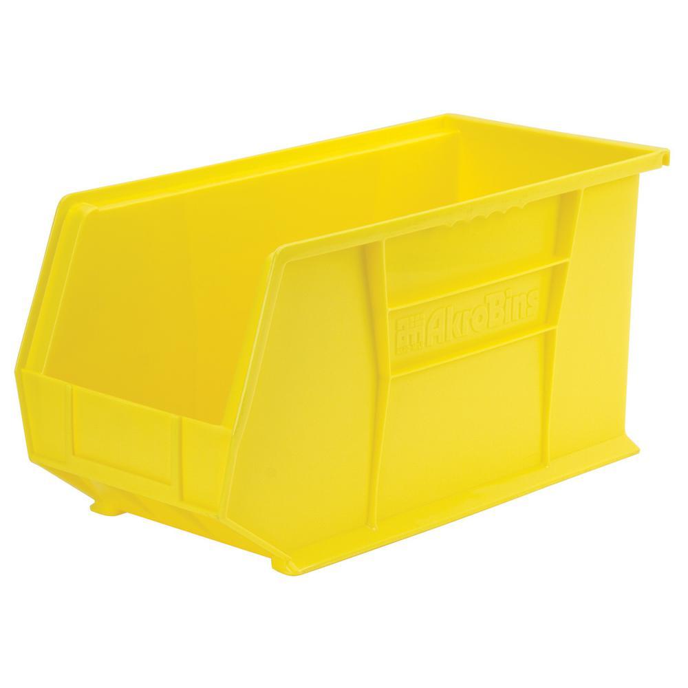 AkroBin 8.1 in. 60 lbs. Storage Tote Bin in Yellow with 3.9 Gal. Storage Capacity