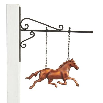 Pure Copper Hand Finished Bronze Patina Galloping Horse Hanging Wall Sculpture