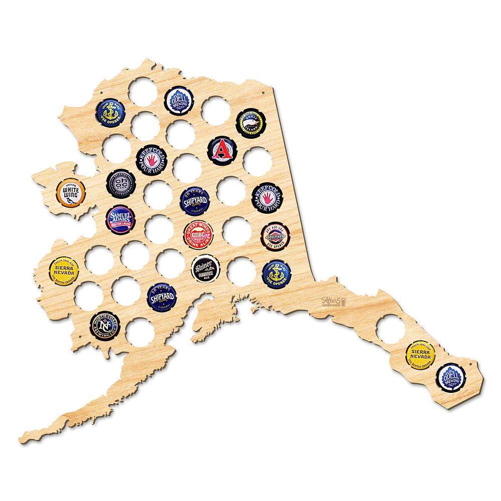 18 in. x 15 in. Large Alaska Beer Cap Map