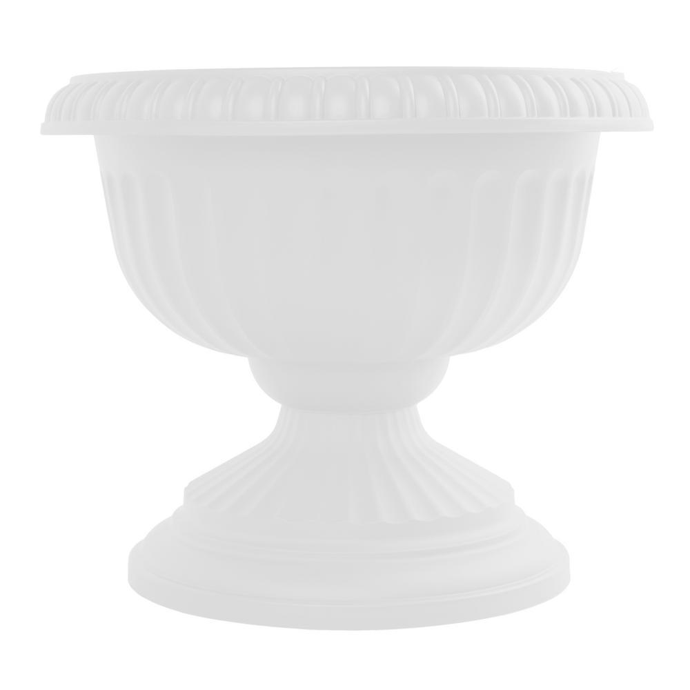Grecian 12 in. x 10.5 in. Casper White Plastic Urn Planter