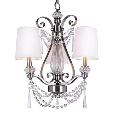 Stewart 3-Light Brushed Nickel Chandelier with White Fabric Shades