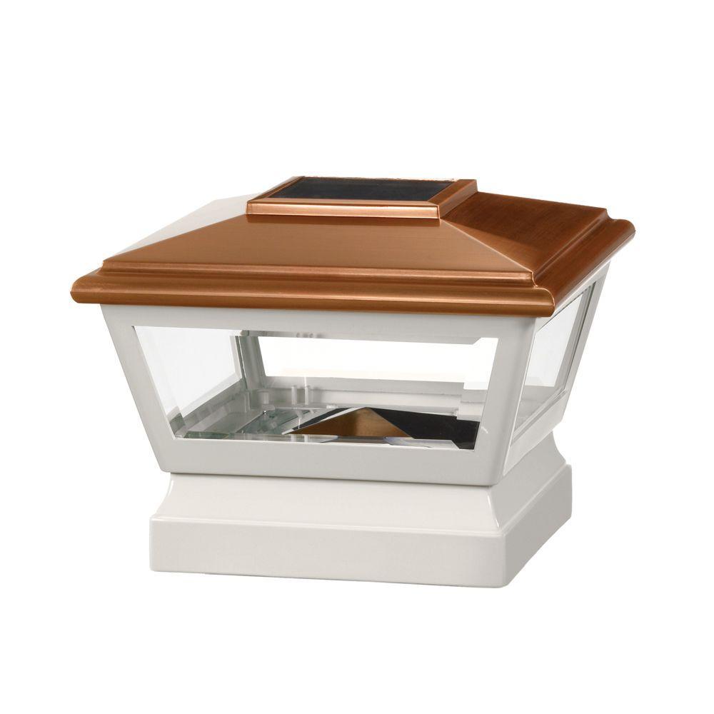 Veranda 5 in. x 5 in. Vinyl Solar Light Copper Top Square Post Cap with White Base